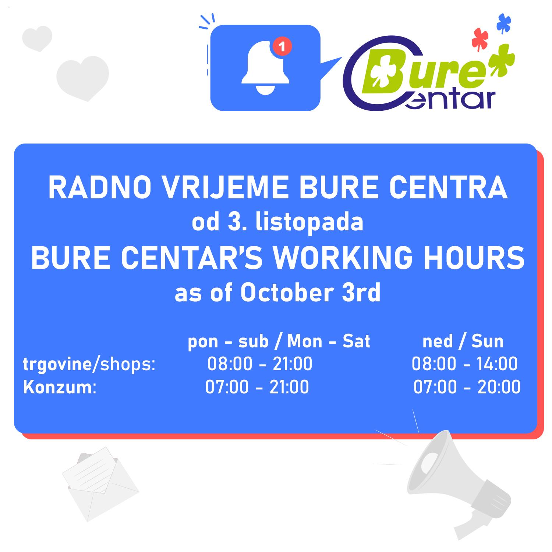 Novo radno vrijeme Bure Centra nedjeljama